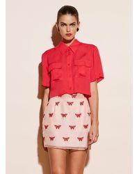 Fleur du Mal Butterfly Embroidered Mini Skirt - Pink