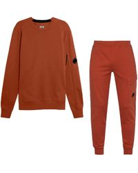C.P. Company Cp Company Diagonal Raised Fleece Tracksuit In Pompein Red