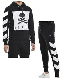 FABRIX Philipp Plein-hoodie And Tracksuit Bottoms Statement Set-black And White