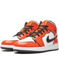 Nike Orange Leather Air Jordan 1 Mid Se High-top sneakers - US ...