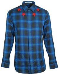 Givenchy Blue Check Star Detail Shirt
