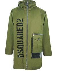 DSquared² Large Logo Green Long Parka Jacket
