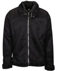 American Stitch Suede Sherpa Jacket - Black
