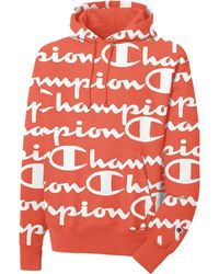 Champion Life® Reverse Weave® Pullover Hoodie, All Over Logo - Red