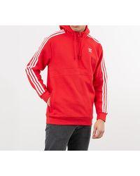 adidas Originals Adidas 3-Stripes Half Zip Sweatshirt Lush Red - Rojo