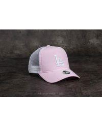 KTZ - 9forty Women Mlb Oxford Aframe Los Angeles Dodgers Trucker Pastel Pink  - Lyst 02376c701ada