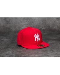 KTZ - 59fifty Mlb Basic New York Yankees Cap Scarlet/ White - Lyst