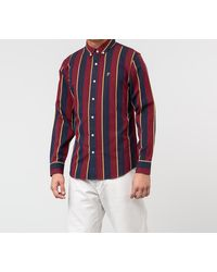 Aimé Leon Dore Striped A-Wing Oxford Shirt Red Wine - Rot