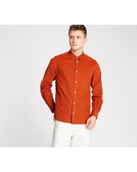 Norse Projects Osvald Cordbury Shirt Cadmium Orange - Arancione