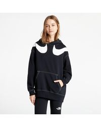 Nike Sportswear Swoosh W Oversized Fleece Hoodie Black/ White/ White - Schwarz