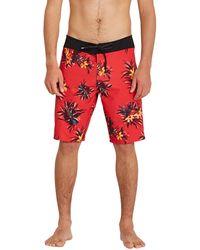 Volcom Mod Lido Print 20 Boardshorts Carmine Red - Rouge