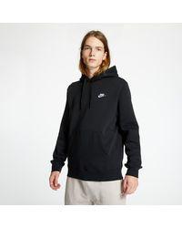Nike - Sportswear Club Fleece Pullover Hoodie Black/ Black/ White - Lyst