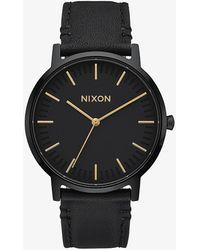 Nixon Porter Leather All Black/ Gold - Nero
