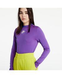 Nike Sportswear Air Mock Longsleeve Rib Fireberry/ Hyper Royal/ White - Violet
