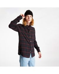 Norse Projects Anton Brushed Flannel Check Shirt Eggplant Brown - Viola