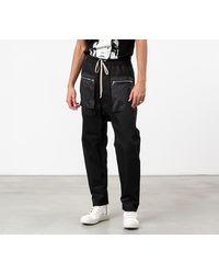 Rick Owens DRKSHDW Drawstring Long Cargo Pants Black - Negro