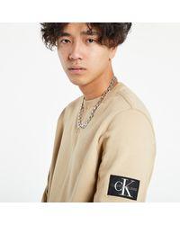 Calvin Klein Monogram Sleeve Badge Crew Neck Travertine - Neutre