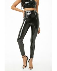91c902baa2680c Forever 21 - Women's High-rise Faux Patent Leather Trousers - Lyst