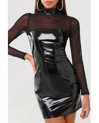 Forever 21 Faux Patent Leather Combo Dress , Black