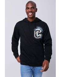 Forever 21 Classic Chenille Patch Graphic Hoodie - Black