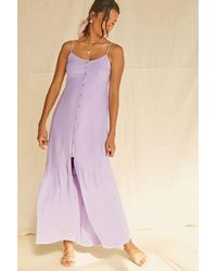 Forever 21 Buttoned High-slit Maxi Dress In Lavender Small - Purple