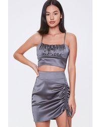 Forever 21 Satin Cropped Cami & Mini Skirt Set - Gray