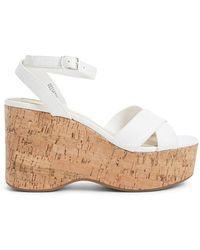 Forever 21 Strappy Cork Wedges , White