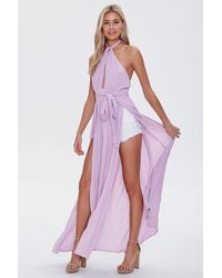 Forever 21 Crinkled Cutout M-slit Maxi Dress - Purple