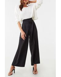 Forever 21 Wide-leg Paperbag Pants , Black