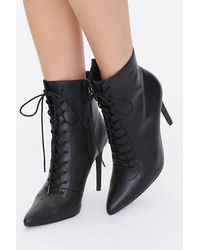 Forever 21 Lace-up Stiletto Booties - Black