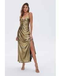 Forever 21 Metallic Cami Maxi Dress In Gold Small