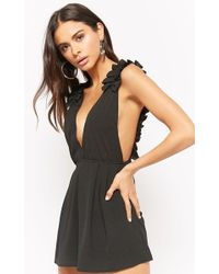 Forever 21 - Plunging Ruffle Playsuit - Lyst