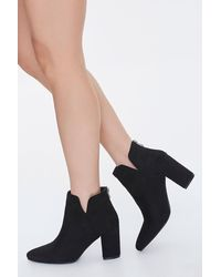 Forever 21 Faux Suede Notched Block Heel Booties - Black