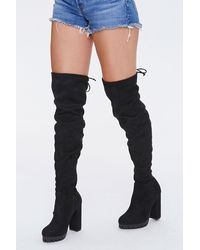 Forever 21 Thigh-high Block Heel Boots In Black, Size 7.5