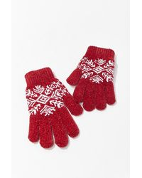 Forever 21 Fair Isle Print Gloves In Red