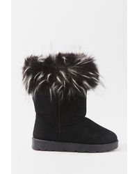 Forever 21 Faux Fur-trim Ankle Booties - Black