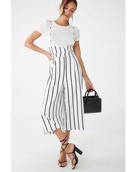 Forever 21 Striped Suspender Culottes , Cream/black