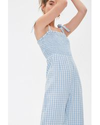 Forever 21 Gingham Smocked Jumpsuit - Blue