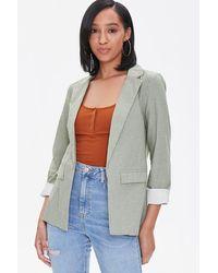 Forever 21 Pinstriped Cotton Blazer - Multicolor