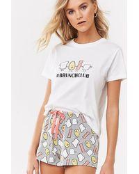 Forever 21 Brunch Club Graphic Pyjama Set , White/grey