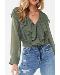 Forever 21 Ruffled Button-front Cropped Shirt , Olive - Green