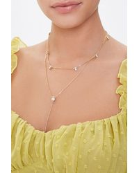 Forever 21 Layered Rhinestone Necklace - Metallic
