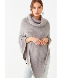 Forever 21 Sequin Turtleneck Poncho , Gray