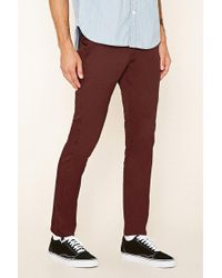 Forever 21 - Slim Fit Cotton-blend Trousers - Lyst
