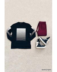 Forever 21 's Gradated Stripe Print Sweater Sweater - Black