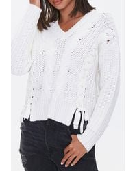 Forever 21 Lace-up Cable Knit Sweater - White