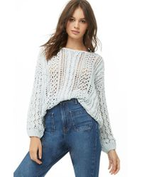 Forever 21 - Open Knit Sweater , Blue - Lyst