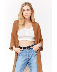 Forever 21 - Frayed Open-front Cardigan - Lyst