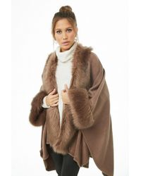 Forever 21 May Logan Faux Fur Poncho - Brown