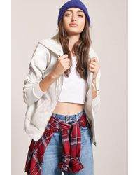 Forever 21   Marled Knit Zip-up Hoodie   Lyst